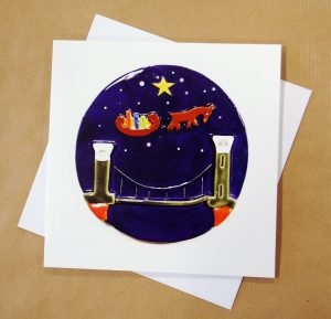 Brandon Christmas cards depicting the Clifton Suspension Bridge, Bristol, made by Banwell Pottery