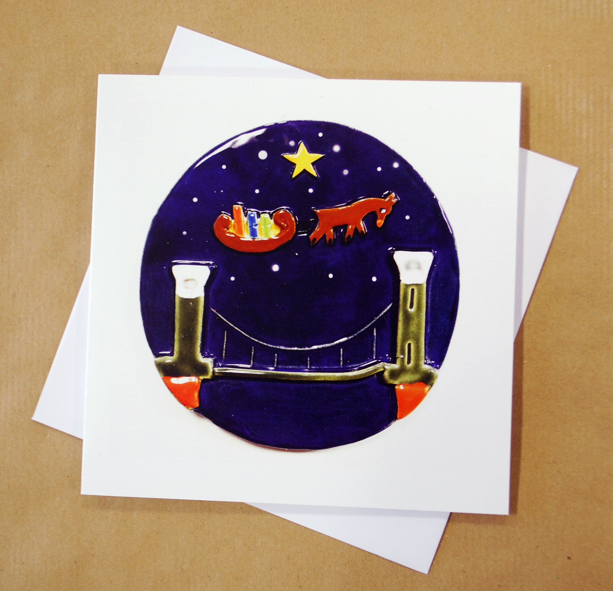 Round Tile Christmas Card Made By Banwell Pottery, Brandon