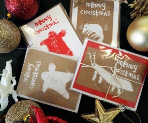 A selection of of screen-printed Christmas cards available to buy from Banwell Pottery and the Brandon Trust Charity shops.