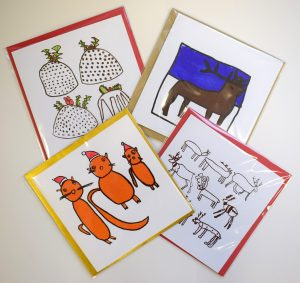 Screenprinted Christmas cards at Banwell Pottery