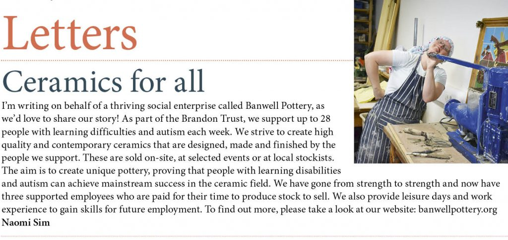 Banwell Pottery's letter published in Ceramic Review magazine